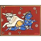 Tallenge - Indian Art - Jamini Roy - Krishna The Cowherd - Xlarge Size Unframed Rolled Digital Art Print On Photographic...