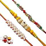 Ethnic Arts Send Rakhee Gift Set Of 3 Fascinating Crystal Pearl Studded Rakhis Raksha Bandhan Gift For Brother...