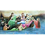 """Dolls Of India """"Princess With Her Maids"""" Reprint On Paper - Unframed (101.60 X 50.80 Centimeters)"""