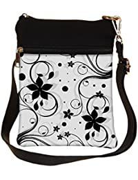 Snoogg Seamless Floral Pattern Abstract Background Cross Body Tote Bag / Shoulder Sling Carry Bag