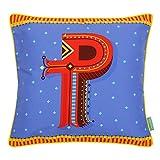 "Chumbak Alphabet P Polycotton Cushion Cover - 16"" X 16"", Multicolor"
