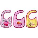 Baby Bucket Soft Cotton Baby Bibs Set Of 3 (Pink Ice-Cream)