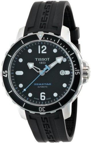 Tissot Men's T0664071705700 Seastar 1000 Black Dial and Strap Watch