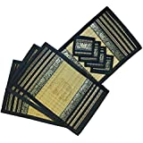 Thai Made Black Border Reed Place Mats And Coaster Set Large - 12x18 In