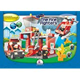 Building Blocks, Fire Fighters In Action. Battery Operated Fire Engine Truck And Helicopter With Lights And Sound