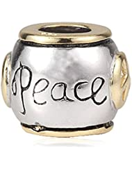 Peace Charms With Gold Plated 925 Sterling Silver Bead For European Style Bracelet Jewelry