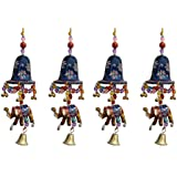 Door Hanging Blue Painted Bell With Jhalar Golden Elephant With Metal Bell Set Of 4 By Handicrafts Paradise