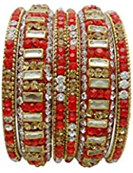 Antique Multicolour Gold Plated Bangles Set By My Design(size-2.8)