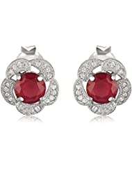Om Jewells Sterling Silver Bloom Red Earrings With CZ Stones For Women ER7900610