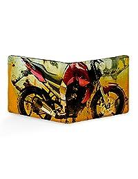 EzyPRNT Stylish Motor Bike Printed Canvas Leather Men's Wallet