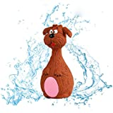 Cute Animal Shape Bite Resistant Soft Rubber Puppy Chew Squeaky Sound Toys-BROWN