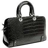 MAHDIS Vintage Style Faux Crocodile Print Top Double Handle Doctor Style Bowler Shopper Tote Bag Satchel Handbag Purse