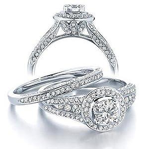 Gleaming Inexpensive Diamond Wedding Ring Set 2 Carat Round Cut Diamond on 10k Gold