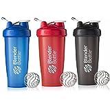 BlenderBottle 28oz Classic Loop Top Shaker Bottle 3-Pack, Full Color Blue/Black/Red, 28 Oz/Blue, Black, Red