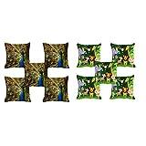 10 Pc -meSleep Jungle And Peacock Digitally Printed Cushion Cover (16 X 16 Inch)