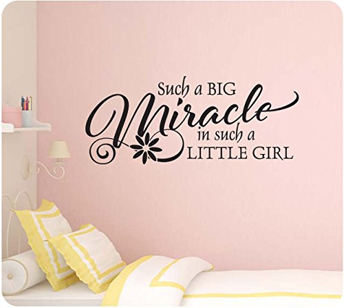 """28"""" Such a Big Miracle in Such a Little Girl Baby Nursery Wall Decal Sticker Art Mural Home Décor Quote"""