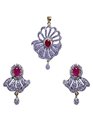 Gehna A.D & Ruby Color Stone Studded Pendant & Earrings Set