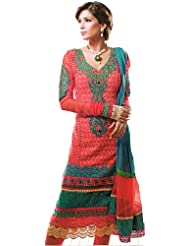 Exotic India Hot Coral Choodidaar Kameez Suit With Self-Colored Embr - Hot Coral