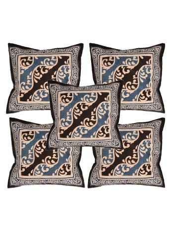 Rajrang Black Cotton Printed Cushion Cover Set Of 5 Pcs #Ccs04086
