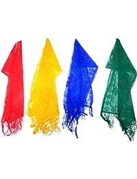 DCS Solid Designer Net Dupattas(Red,Yellow,Blue,Green)(2 Meters)(Pack Of 4)