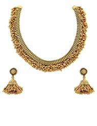Kumud Ethnic Traditional Gold Polished Necklace Set With Pair Of Earrings And Light Antique Finish