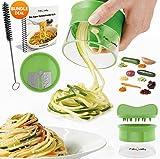 Premium Spiralschneider Hand für Gemüsespaghetti kartoffel - FabQuality Zucchini Spargelschäler, Gurkenschneider, Gurkenschäler, Möhrenreibe Möhrenschäler, Gemüsehobel