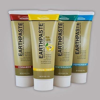 Redmon Earthpaste Natural Toothpastec 4 PACK!! (Lemon, Wintergreen, Cinnamon, Peppermint)