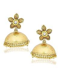 Kundan Pearl Jhumka Earrings For Women Girls In Traditional Ethnic Gold Plated Earings By Meenaz J115