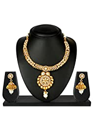 VK Jewels Royal Gold Plated Necklace With Earrings- NKS1139G [VKNKS1139G]