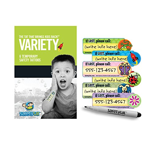 Theme Park Food and Safety - Quick Stick Write-on! Child ID Tattoos (Variety 6pk.)