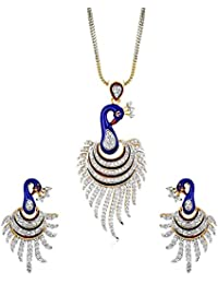 Zeneme CZ Designer Necklace Set / Jewellery Set With Chain And Earrings For Girls And Women