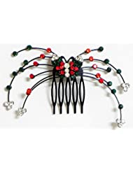 Red, Green And White Crystal Studded Butterfly Hair Comb - Stone And Metal
