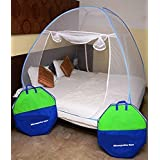 Berry*OFFER FREE 1 INSECT KILLER RACKET WITH MOSQUITO NET* Mosquito Net Classic Foldable Mosquito Net(Blue) (Size-Double)