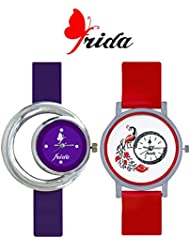 Frida New Latest Beautiful Designer Branded Multi Color PU Belt Analog Awesome Looks Best Offer In Deal Casual... - B01M0STIPG