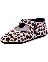Beanz Catty Beige/Black Dot Print Leather Pram Shoes For Girls Size 18 EU
