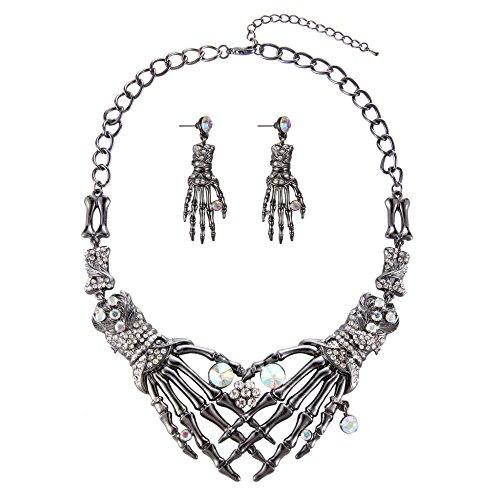 Halloween Vintage Punk Austrian Crystal Claw Shaped Statement Jewelry Set