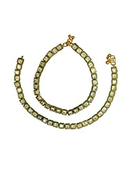 Designer Square AD Stone Anklets / Payal With Beautiful Border Meena Design For Bridal Jewellery Payal