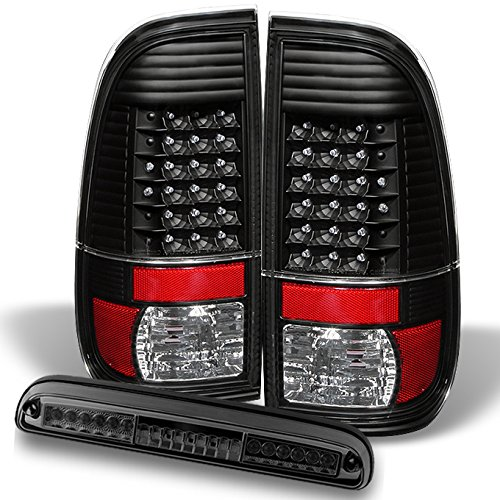 Ford F250/350/450/550 Pickup Truck Black LED Tail Lights Replacement + Smoked LED 3RD Brake Light