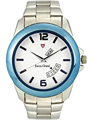 Swiss Grand SG-1147 Blue Coloured With Silver Stainless Steel Strap Analog Quartz Watch For Men