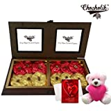 Valentine Chocholik Premium Gifts - Special Collection Of Rocks With Teddy And Love Card