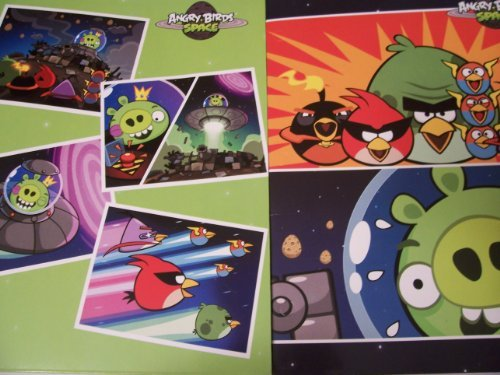 Angry Birds Space 2 Folder Set (Picture Postcards On Green, Space Birds Vs. Green Pig)