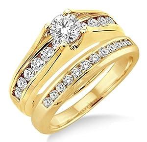 0.50 Carat Bridal Set with Round Cut Diamond in 10k Yellow Gold