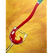 Tallenge - Oil Painting - The Red Pour - Bar Art - Unframed Rolled A3 Size Poster (11.6x16.5 Inches)