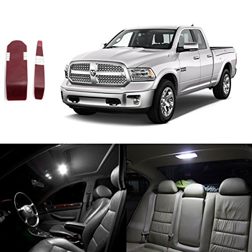 Partsam 2009-2015 Dodge Ram 1500 2500 3500 White Interior LED Light Package Kit with Pry Bar Tool (7 Pieces)