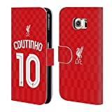 Official Liverpool FC LFC Home Shirt Red Coutinho LFC Shirt 2015/16 Leather Book Wallet Case Cover for Samsung Galaxy S6