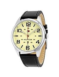 TOMMY HILFIGER Conner Quartz Cream Dial Black Leather Strap Men's Watch - TH1791158J