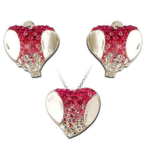 Exxotic Fashion Sterling Silver Pink & White American Diamond Earring Pendant Set For Women
