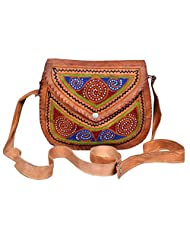 Angelfish Leather Sling Cross Body Bag With Embroidery In Front For Unisex (25*20*5 Cms)