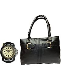 Arc HnH Women HandBag + Watch Combo - Buckle Black Handbag + Sporty Black Watch