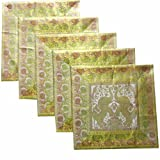 Kriti Creations Set Of 5 Ivory White Cushion Covers (16*16 IN)